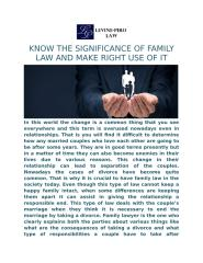 KNOW THE SIGNIFICANCE OF FAMILY LAW AND MAKE RIGHT USE OF IT.docx