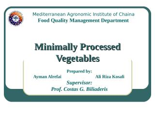 Minimally Processed Vegetables AYMAN & ALI.pps
